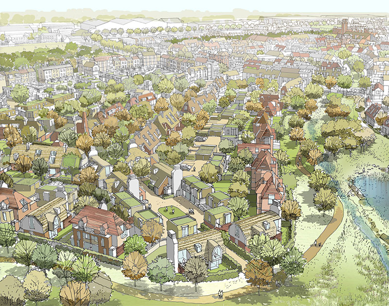 Dunsfold Park Artists impression of an outer neighbourhood