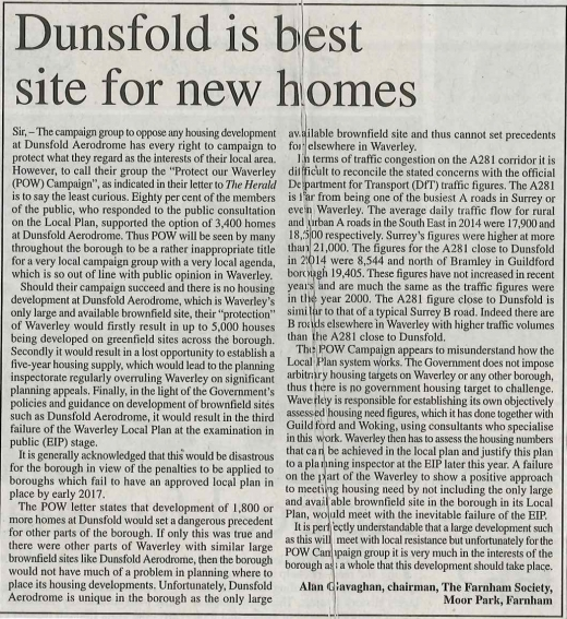 Dunsfold is best site for new homes